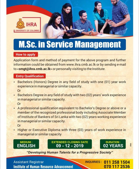 Apply for Master of Science in Service Management (MSc SM)