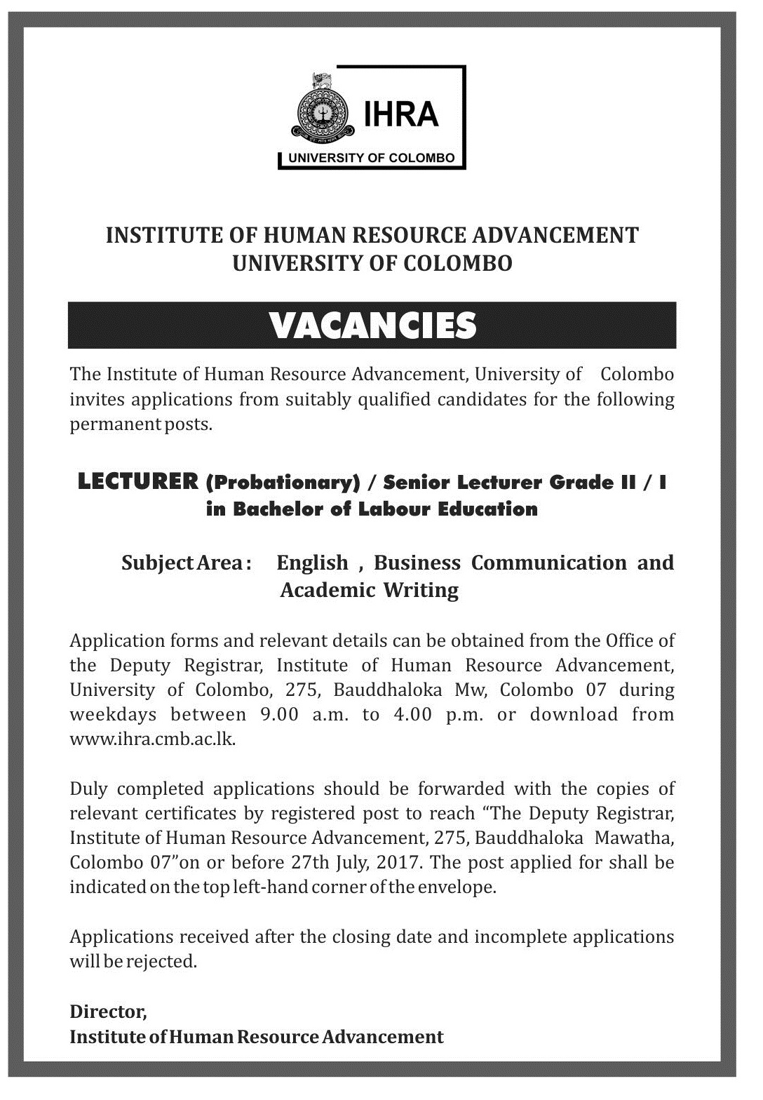 LECTURER (Probationary) / Senior Lecturer Grade II / I in Bachelor of Labour Education