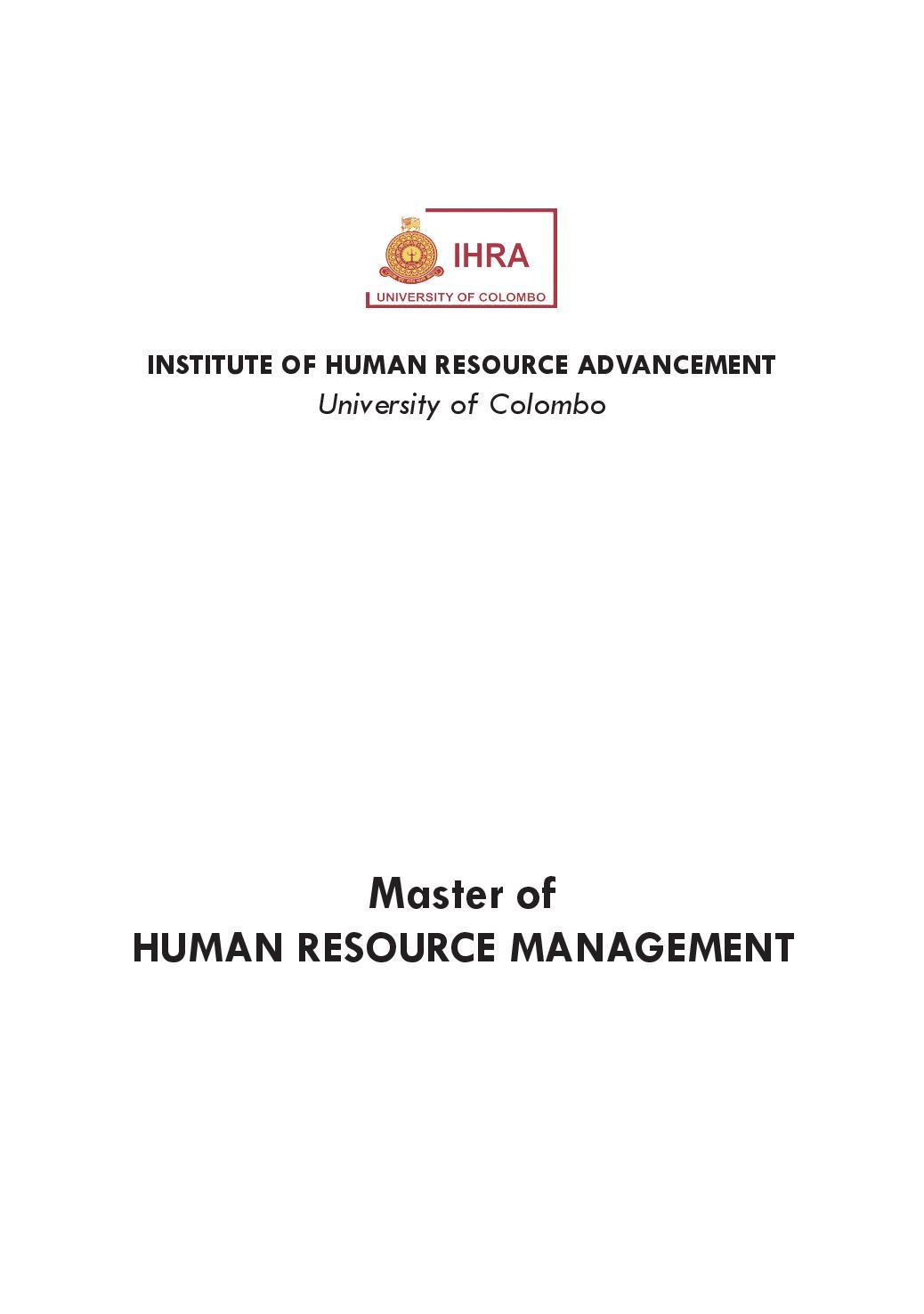 master of human resource management  u2013 mhrm