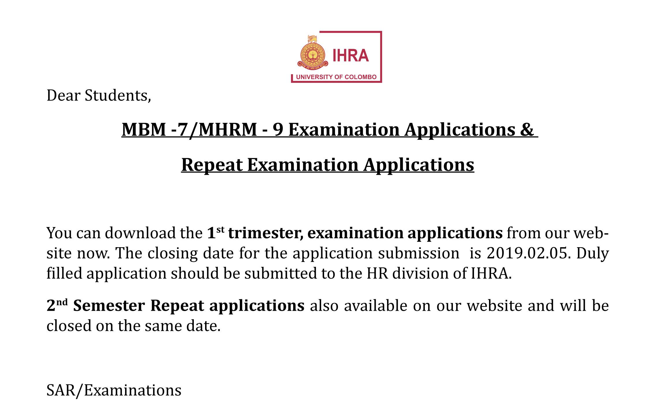 MBM -7/MHRM – 9 Examination Applications &  Repeat Examination Applications