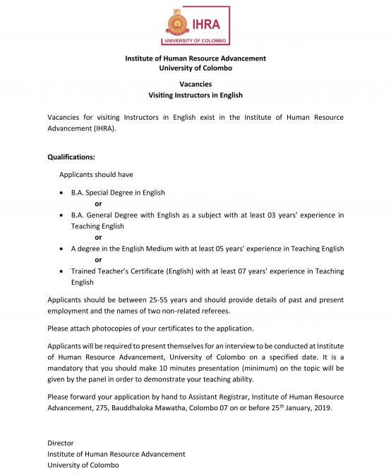 Vacancies for Visiting Instructors in English