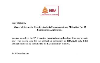 Master of Science in Disaster Analysis Management and Mitigation No. 03 Examination Applications