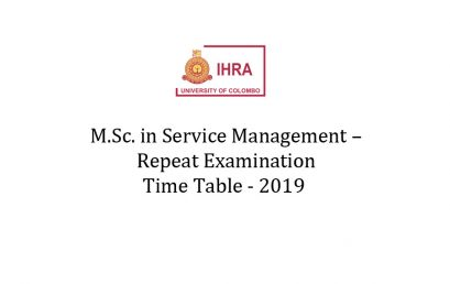 M.Sc. in Service Management – Repeat Examination 2019 Time Table  Semester I