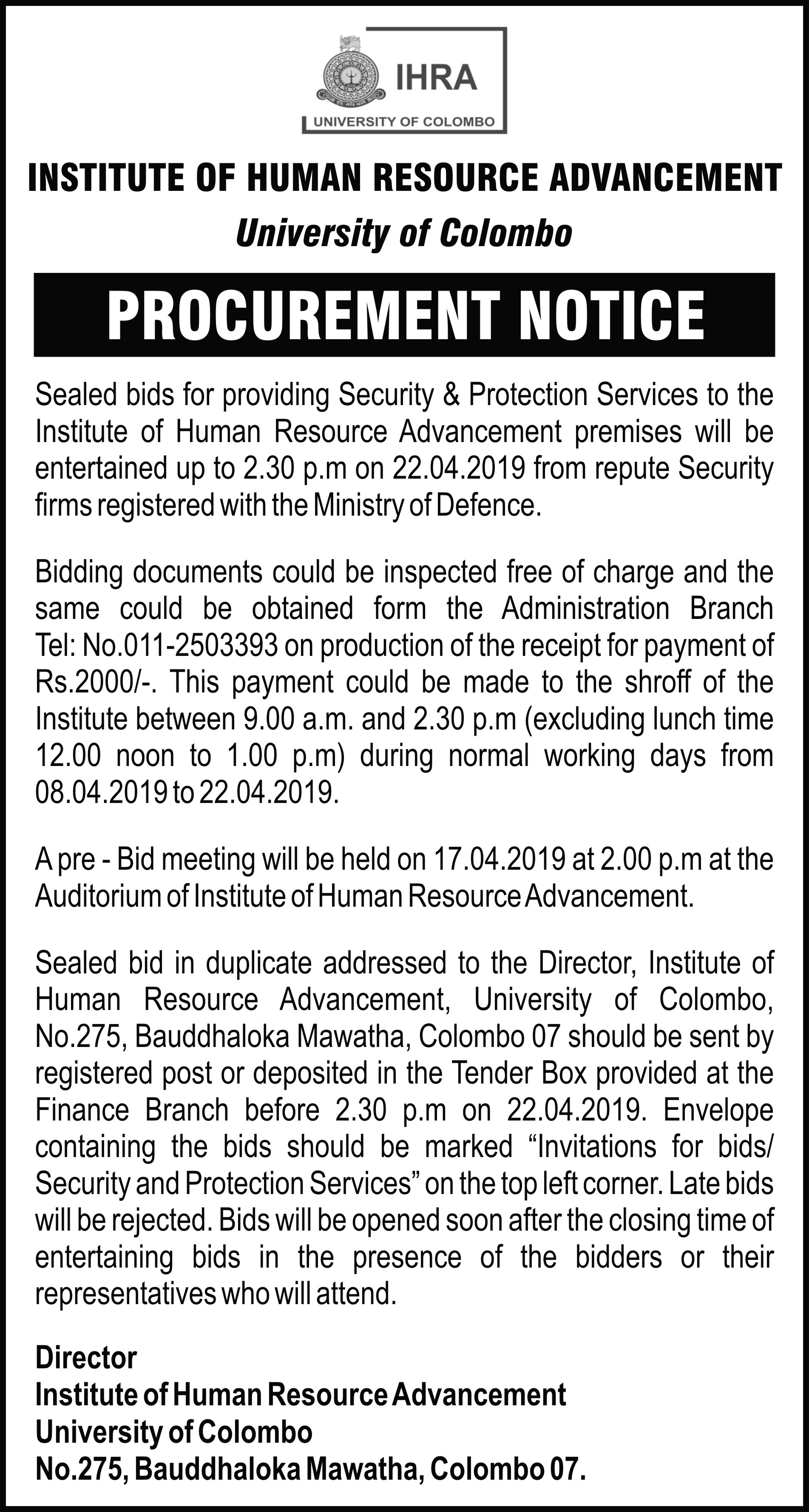 Invitation for bids  (Security and Protection Services)