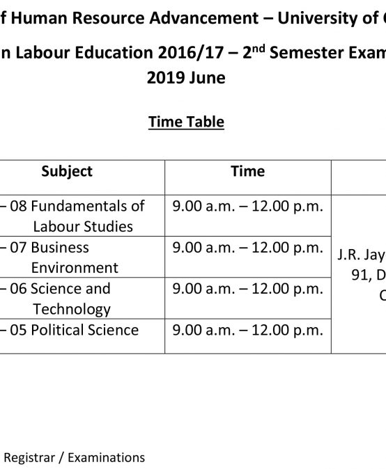 Diploma in Labour Education 2016/17 – 2 nd Semester Examination 2019 June Time Table
