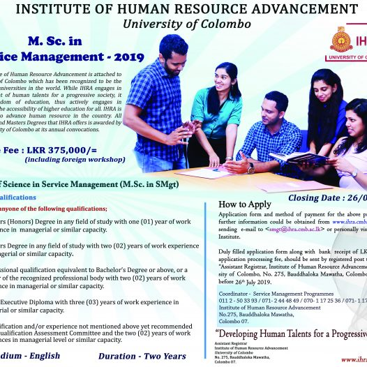Master of Science in Service Management (MSc SM)- 2019