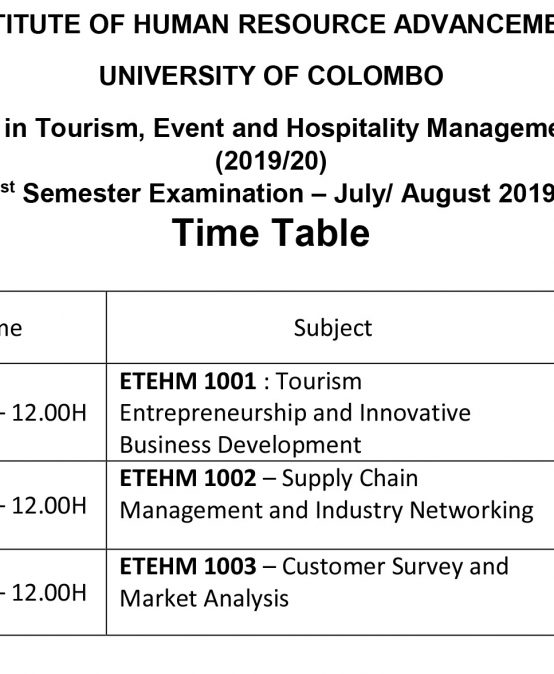 Executive Diploma in Tourism, Event and Hospitality Management Course No. 2 – (2019/20) 1st Semester Examination