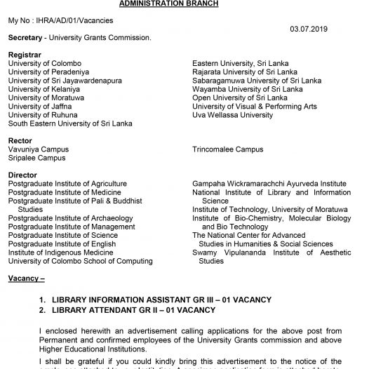 Vacancies ONLY for University Permanent and Confirmed Employees