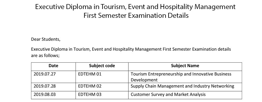 Executive Diploma in Tourism, Event and Hospitality Management (EDTEHM) First Semester Examination Details