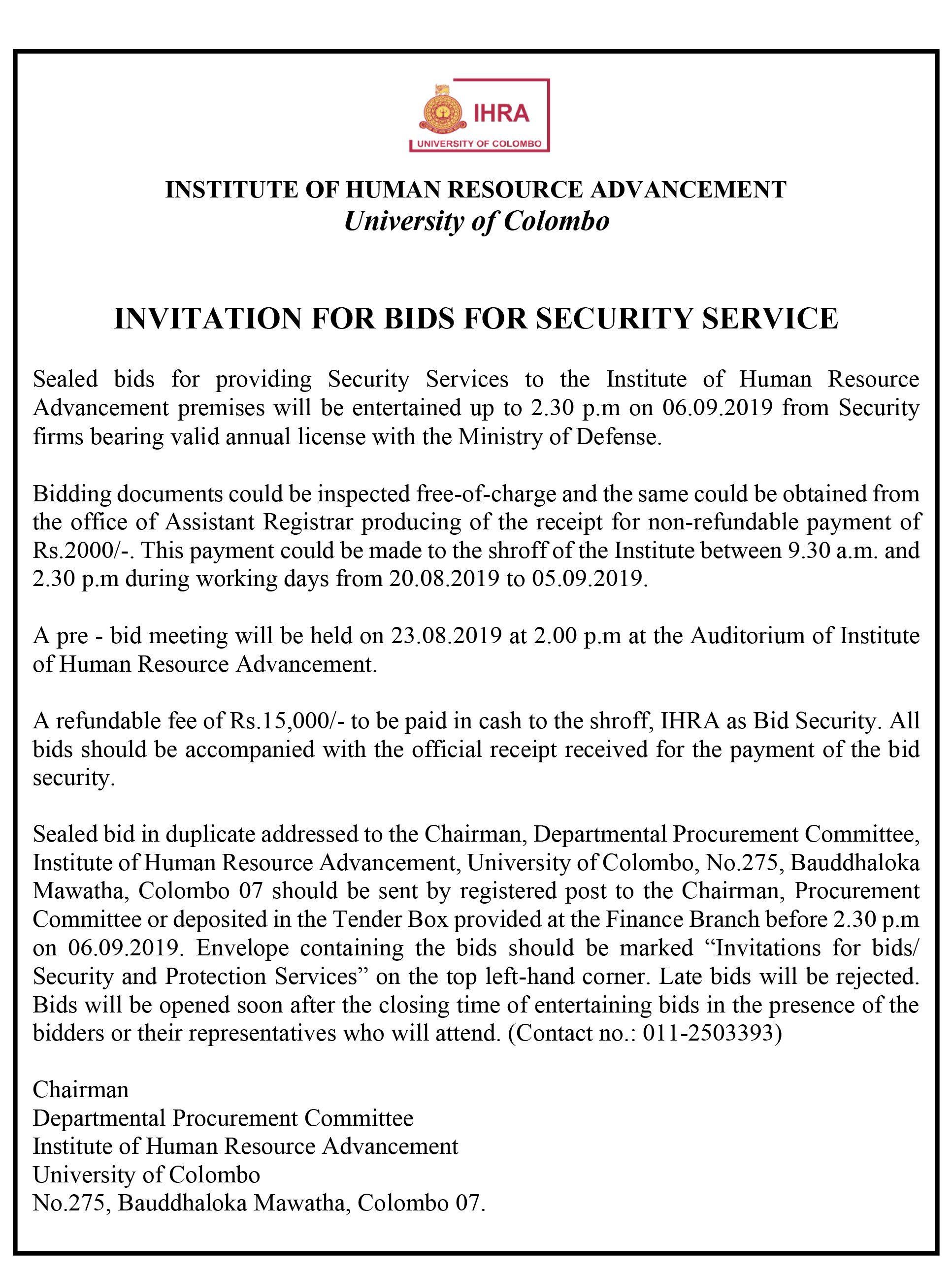 INVITATION FOR BIDS FOR SECURITY SERVICE