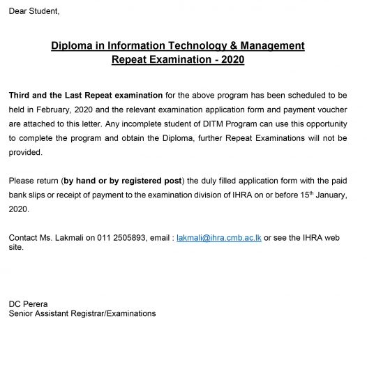 Diploma in Information Technology & Management Repeat Examination – 2020