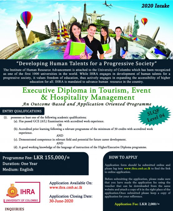 Executive Diploma in Tourism, Events and Hospitality Management (EDTEHM) – Intake 2020