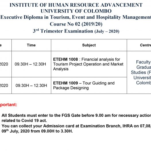 Time Table- Executive Diploma in Tourism, Event and Hospitality Management  Course No 02 (2019/20) 3rd Trimester Examination (July – 2020)