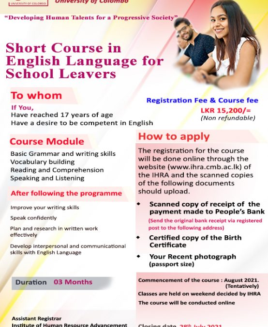 Short Course in English for School Leavers 2021