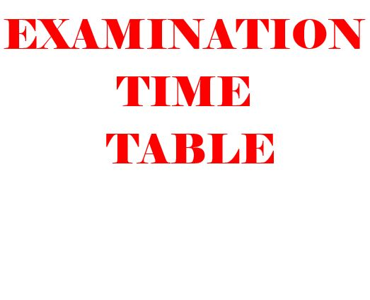 Examination Time Table, BLM – Part I